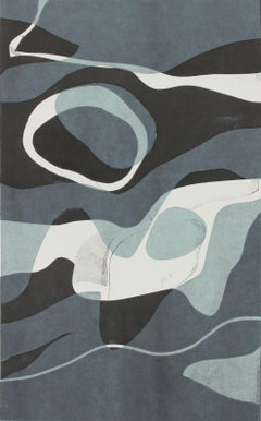 """Naiad II"" Contemporary Abstract Monotype on Paper in Shades of Blue"