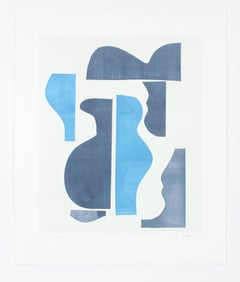 """""""Pottery Forms III"""" Abstract Monotype on Paper in Navy and Baby Blue, 2018"""