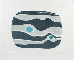 """""""River Stone V"""" Abstract Monotype on Paper in Navy Blue, Gray, Turquoise, 2018"""