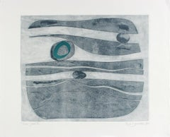 """""""River Stones XI"""" 2018 Abstract Monotype in Shades of Blue"""