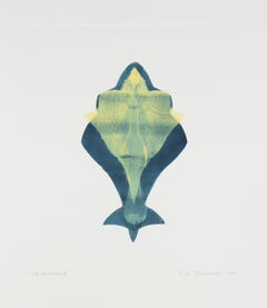 """Sea Talisman IV"" Abstract Monotype Print in Blue Green and Yellow, 2013"