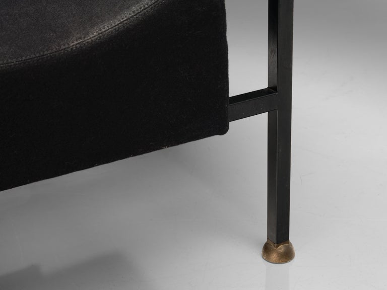 """Brass Rob Eckhardt for Pastoe Lounge Chair """"Groeten Uit Holland"""" in Original Fabric For Sale"""