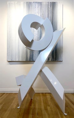 'White Rhythm #4', abstract geometric aluminum indoor/outdoor sculpture
