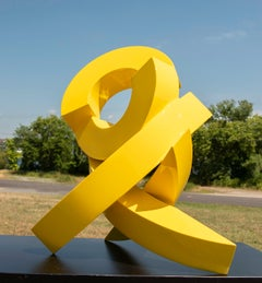 'Yellow Eddy', abstract geometric aluminum indoor/outdoor sculpture