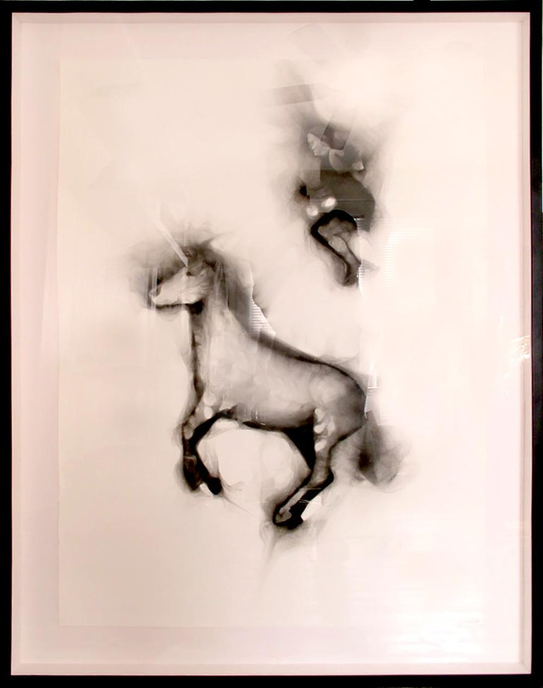 Flying Alinga Double Jump, smoke on paper, elegant custom contemporary box frame - Painting by Rob Tarbell