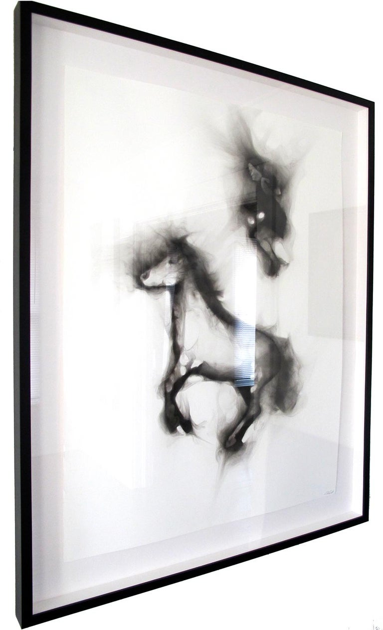 Flying Alinga Double Jump, smoke on paper, elegant custom contemporary box frame - Contemporary Painting by Rob Tarbell
