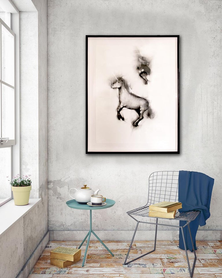Flying Alinga Double Jump, smoke on paper, elegant custom contemporary box frame - Beige Figurative Painting by Rob Tarbell