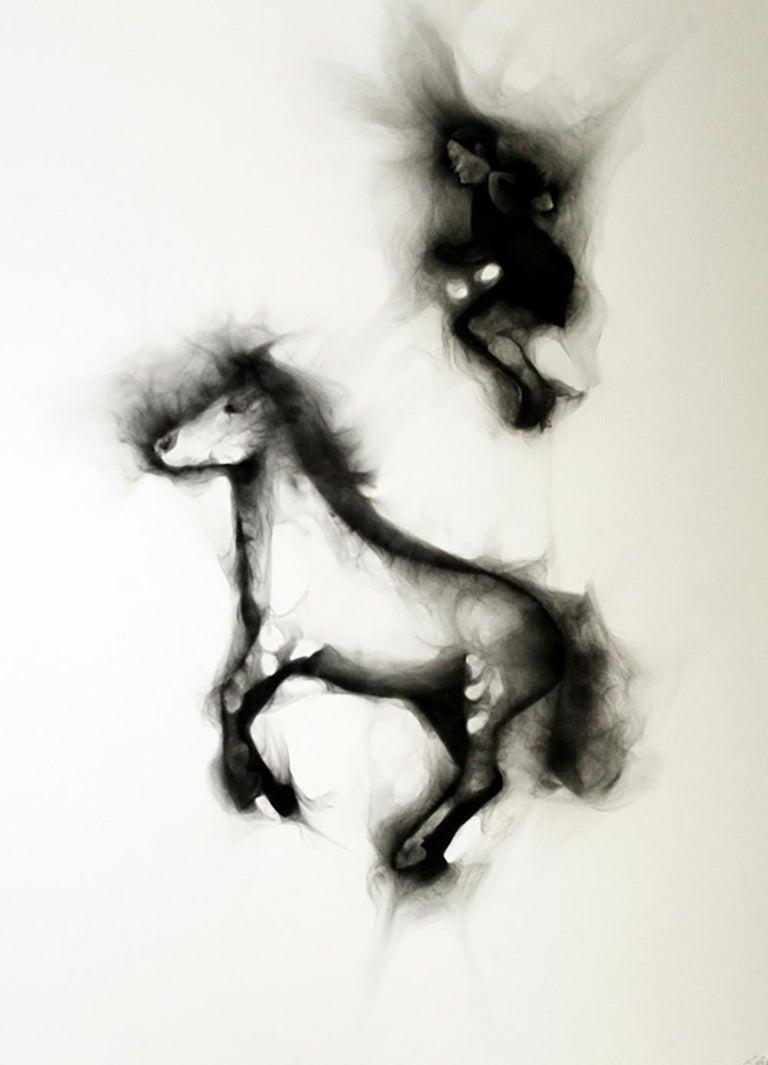 Rob Tarbell Figurative Painting - Flying Alinga Double Jump, smoke on paper, elegant custom contemporary box frame