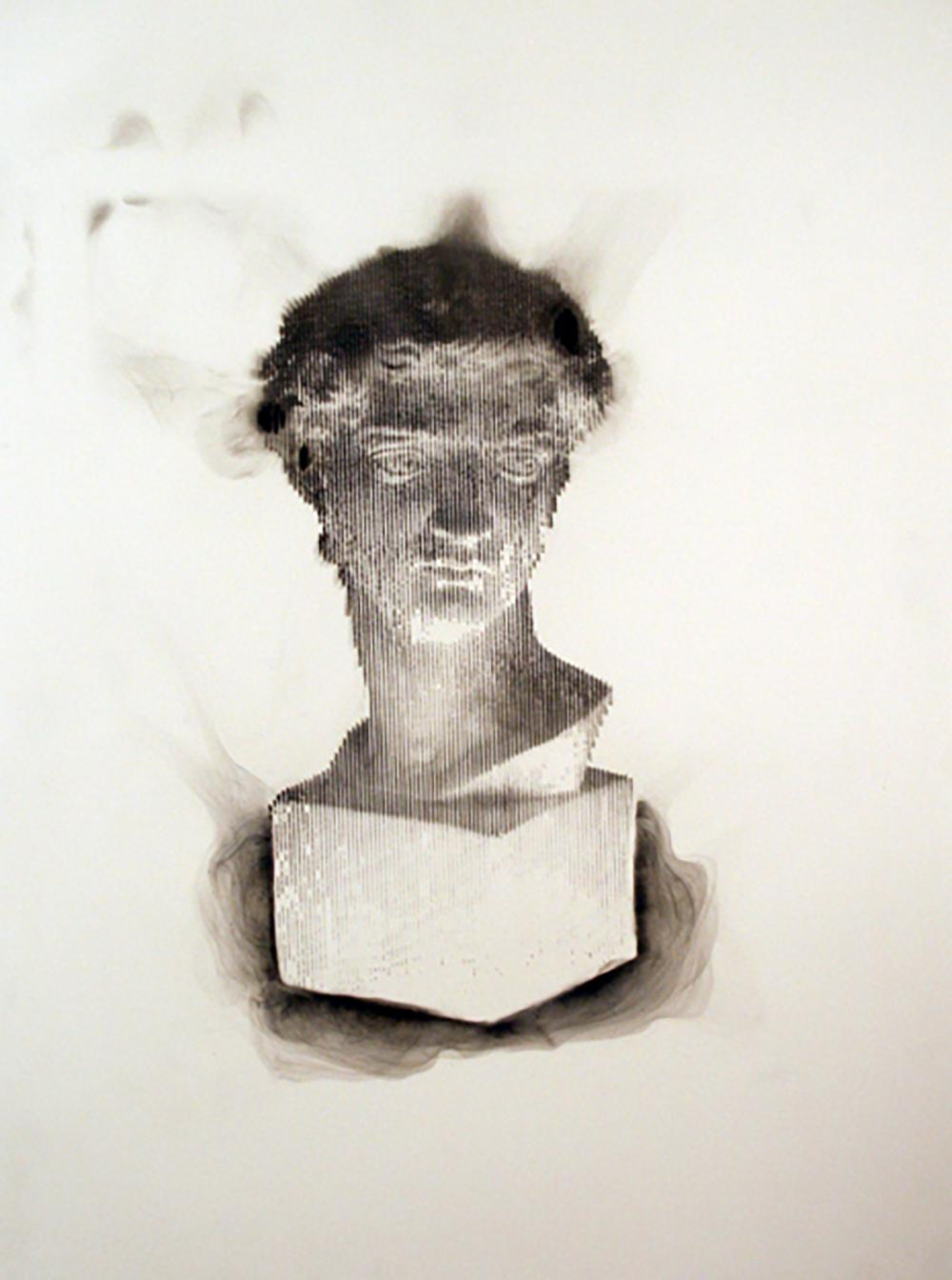 More a Lover than a Fighter - smoke on paper contemporary wood box frame