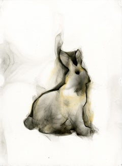 Rabbit # 1 - smoke on paper, classic and contemporary box frame