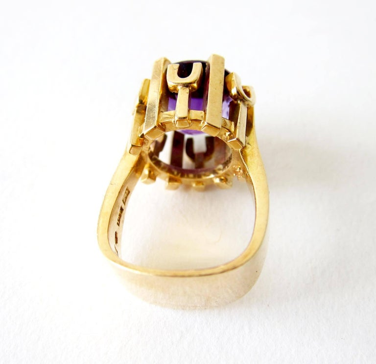 Women's Rare Robbert Gold Amethyst Swedish Modernist Regal Crown Ring For Sale