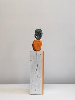 Contemporary Conceptual Bronze Ceramic Sculpture Female Artist Orange White