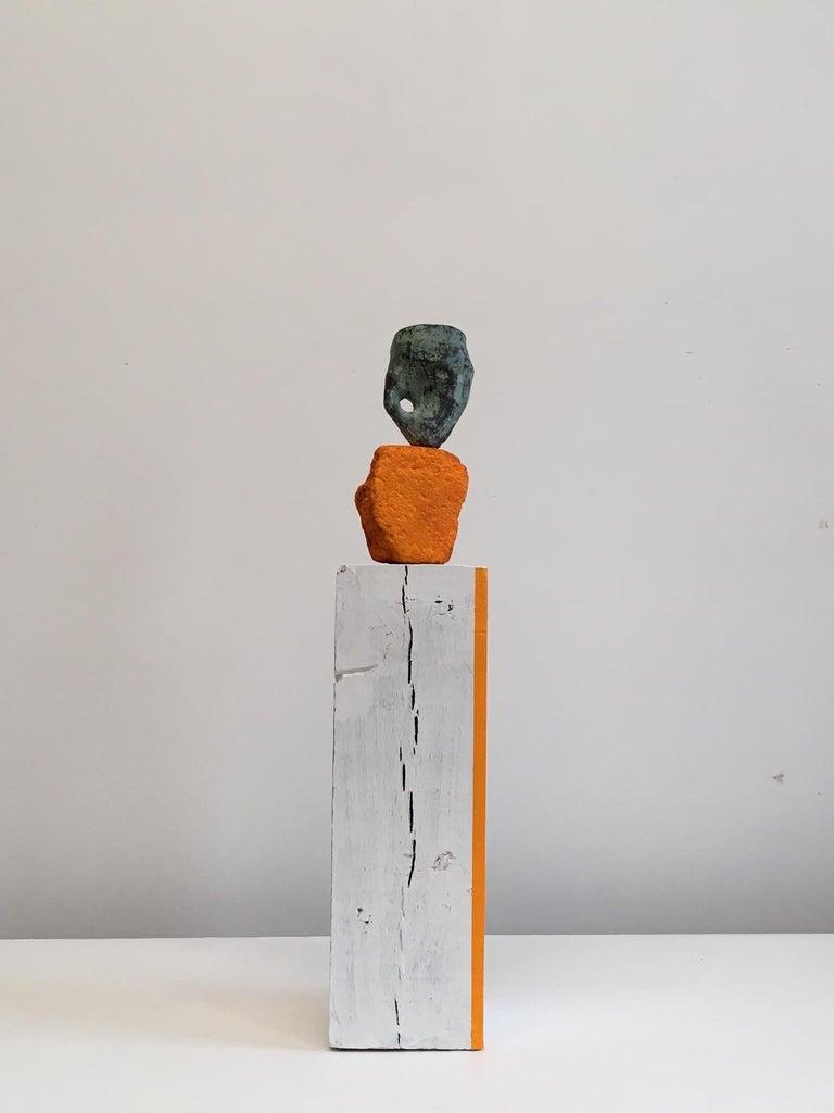 Roberley Bell Abstract Sculpture - Contemporary Conceptual Bronze Ceramic Sculpture Female Artist Orange White