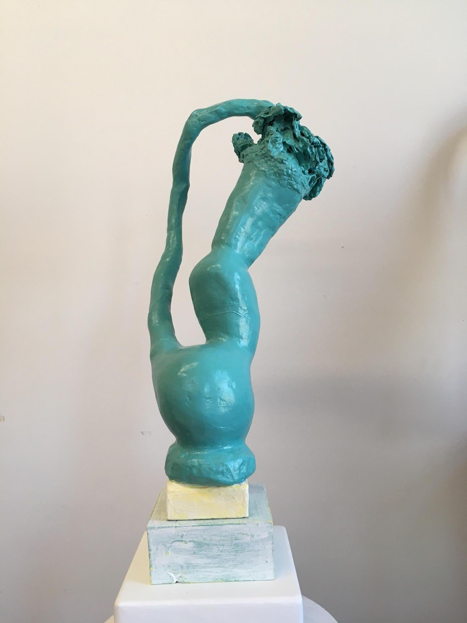 Contemporary Conceptual Ceramic Sculpture Turquoise Female Artist Unique Object