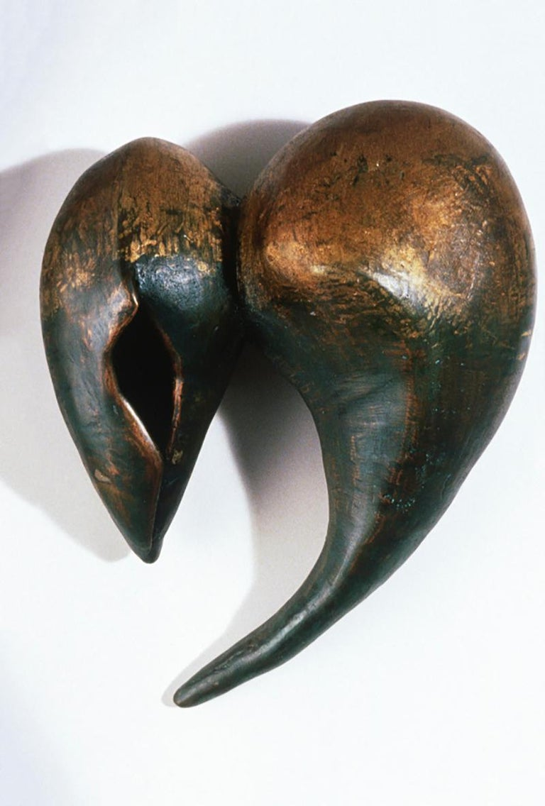 """An original unique bronze and silver leaf abstract sculpture by Roberley Bell.    This dynamic work from the artist's """"Lake Erie and Other Waters"""" series can be hung on the wall or placed on a surface.  This work is also able to be installed"""