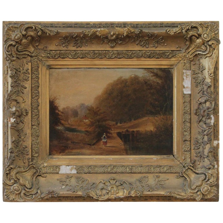 Roberson and Miller Oil on Canvas, circa 1835 For Sale