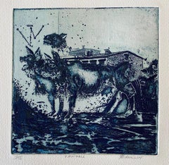 4 Animals, American Modernist Abstract Etching