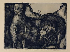 Beast With Tree In Stomach, American Modernist Abstract Etching