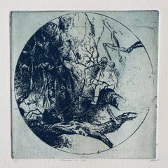 Chinese Man In Tree, American Modernist Abstract Etching