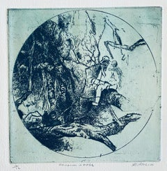 Chinaman In Tree, American Modernist Abstract Etching