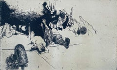 Fallen Figures. Standing Dog, American Modernist Abstract Etching