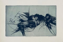 Falling Figure, American Modernist Abstract Etching