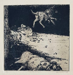 Flying Dog, American Modernist Abstract Etching