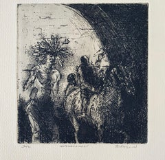 Horseman & Indian, American Modernist Abstract Etching