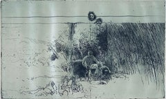 Man In Field With Dogs, American Modernist Abstract Etching