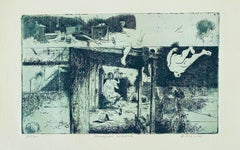 Skowhegan Exterior, American Modernist Abstract Etching