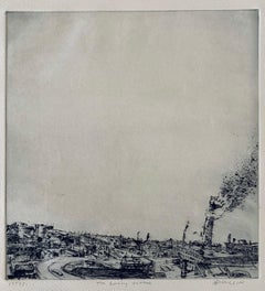 The Burning Tower, American Modernist Abstract Etching