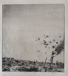 The Burning Tower, American Modernist Abstract Landscape Etching