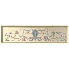 Robert Adam Style Painted Interior Architectural Panel, Framed