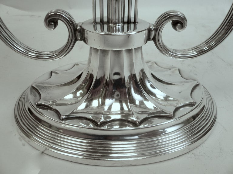 Robert Adam Style Silvered Bronze Table Lamp by E.F. Caldwell For Sale 5