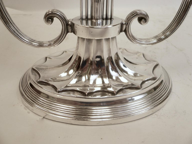 Robert Adam Style Silvered Bronze Table Lamp by E.F. Caldwell In Good Condition For Sale In Pittsburgh, PA