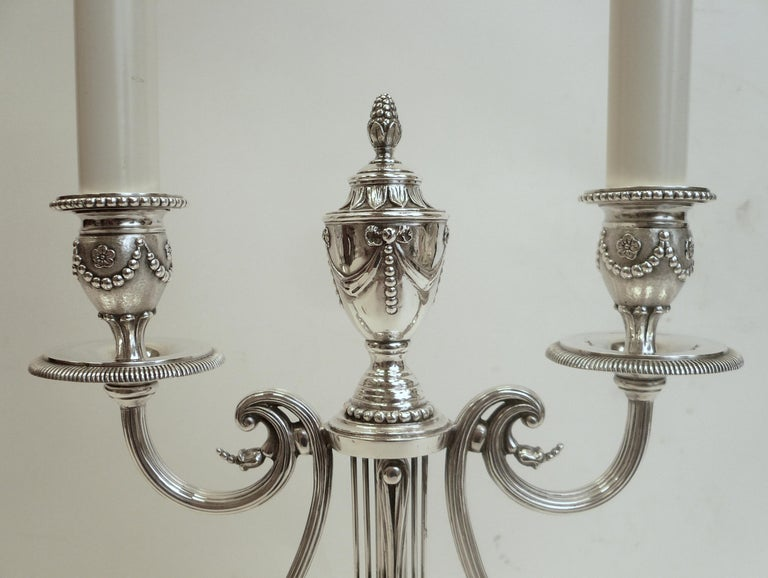 18th Century Robert Adam Style Silvered Bronze Table Lamp by E.F. Caldwell For Sale