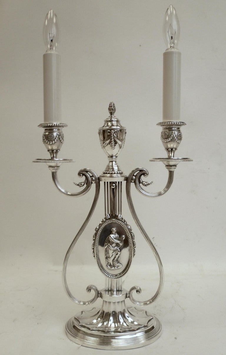 Robert Adam Style Silvered Bronze Table Lamp by E.F. Caldwell For Sale 2