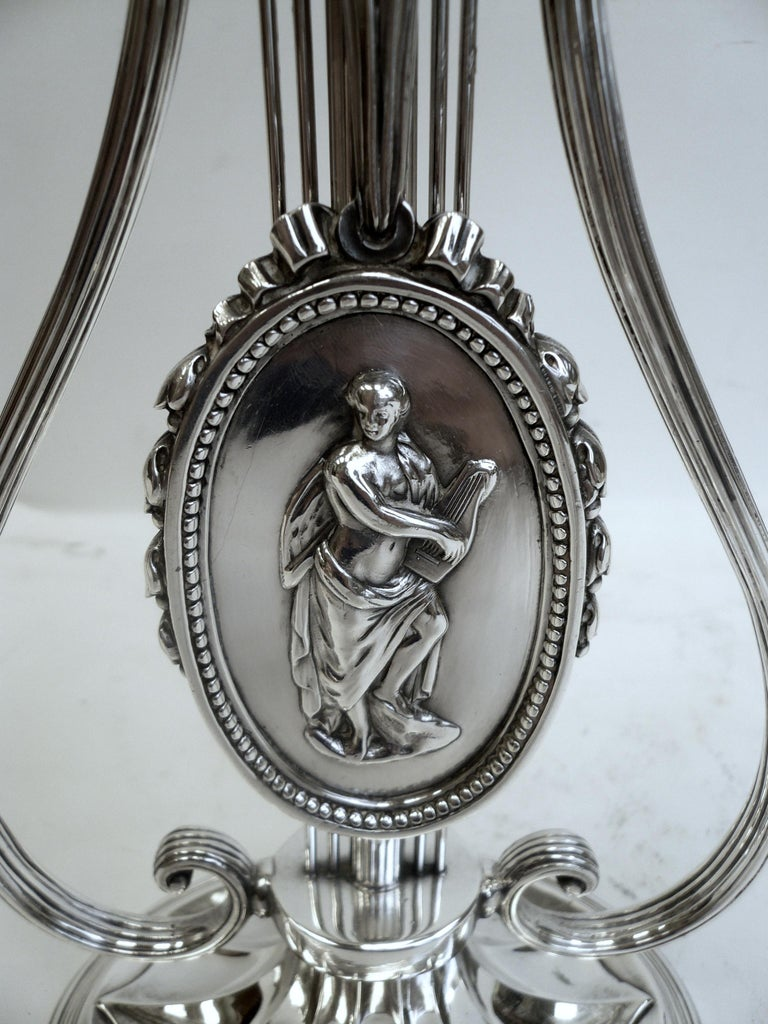 Robert Adam Style Silvered Bronze Table Lamp by E.F. Caldwell For Sale 4