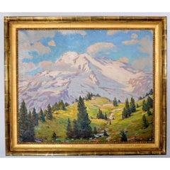 """Mount Rainier"" Washington Impressionist Oil on Canvas Robert Alexander Graham"