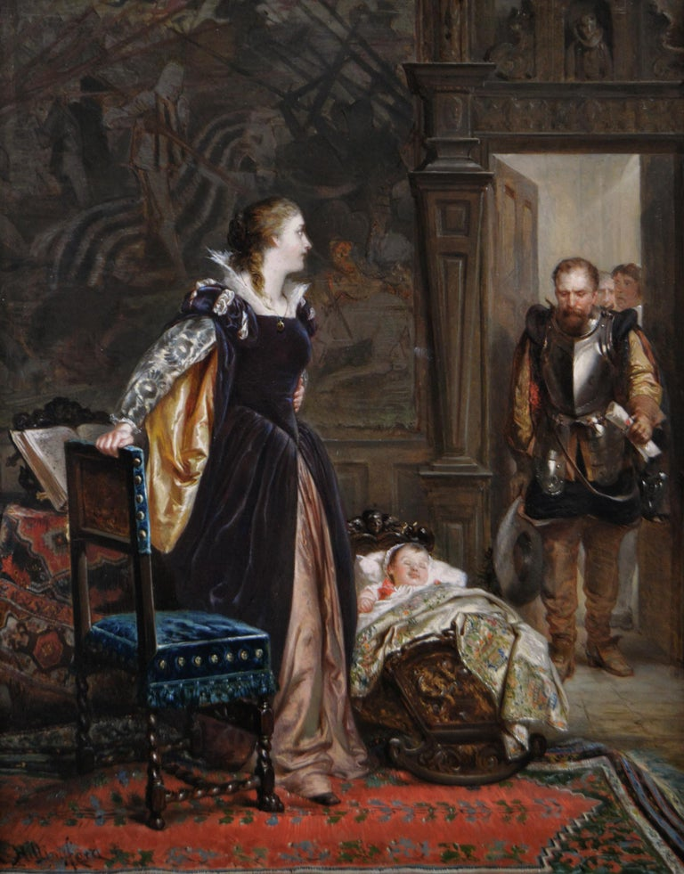 19th Century historical genre oil painting of Mary Queen of Scots & James I - Painting by Robert Alexander Hillingford