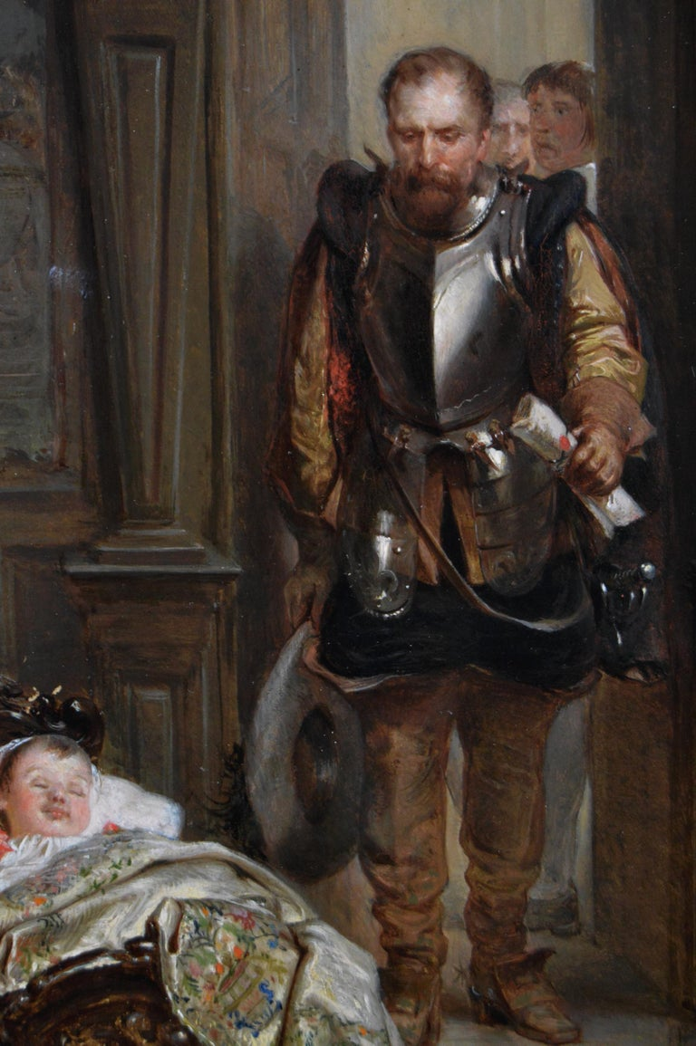 19th Century historical genre oil painting of Mary Queen of Scots & James I - Brown Figurative Painting by Robert Alexander Hillingford