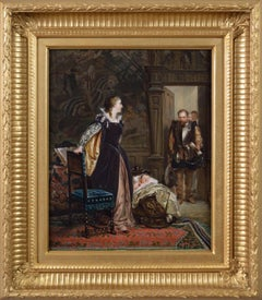 19th Century historical genre oil painting of Mary Queen of Scots & James I
