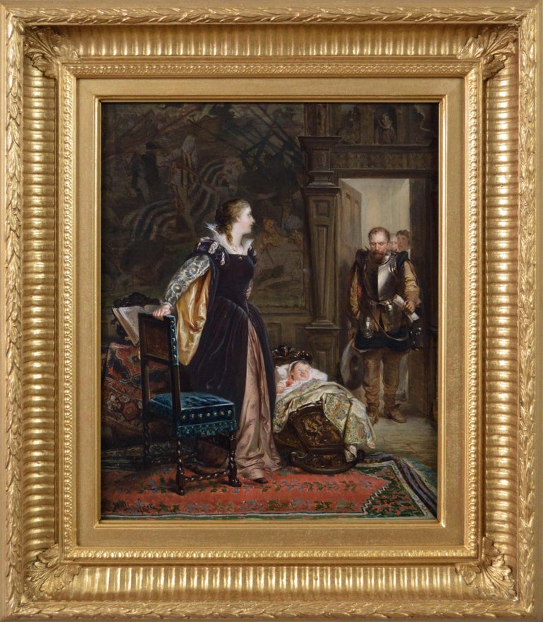 Robert Alexander Hillingford Figurative Painting - 19th Century historical genre oil painting of Mary Queen of Scots & James I