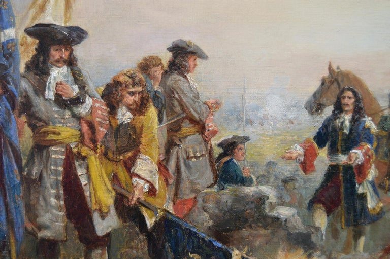 19th Century historical genre oil painting of soldiers surrendering  - Brown Figurative Painting by Robert Alexander Hillingford