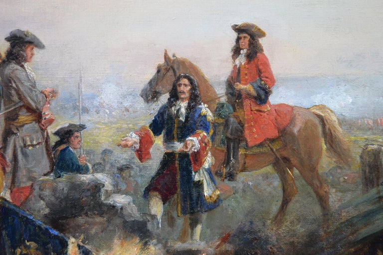 19th Century historical genre oil painting of soldiers surrendering  For Sale 1