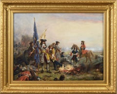 19th Century historical genre oil painting of soldiers surrendering
