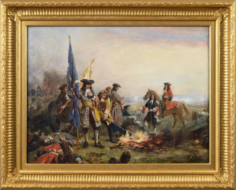 Robert Alexander Hillingford Figurative Painting - 19th Century historical genre oil painting of soldiers surrendering