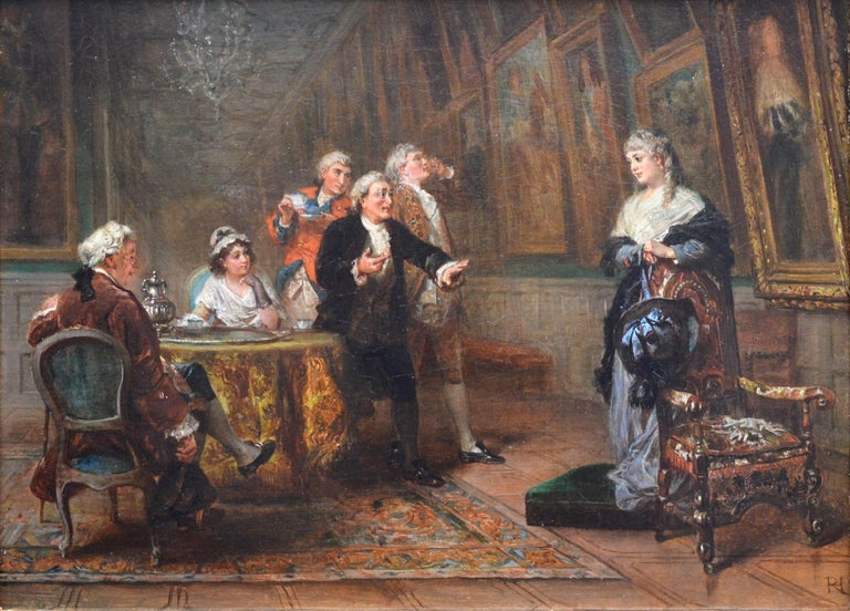 'The Long Gallery, Hardwick Hall' by Robert Alexander Hillingford (1828-1904). The painting is signed by the artist and hangs in a newly commissioned, superb quality gold metal leaf frame.   As with all of the original antique oil paintings we sell