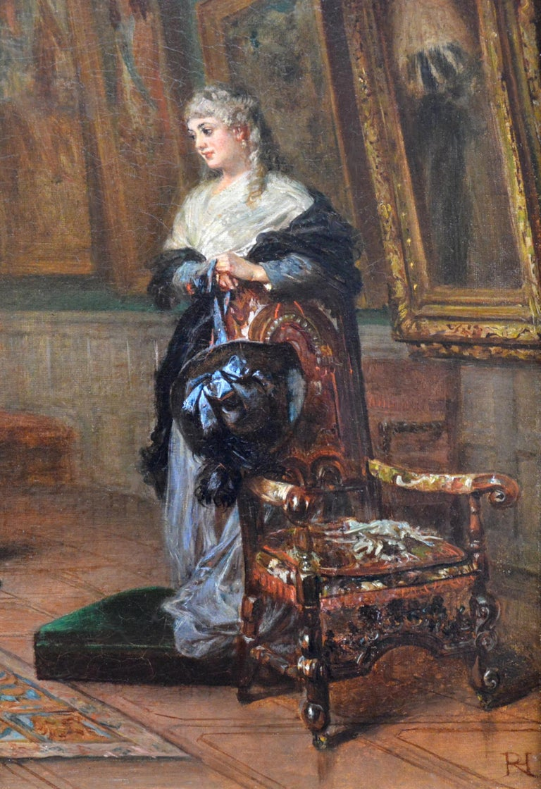 The Long Gallery, Hardwick Hall - 19th Century English Stately Home Oil Painting 2