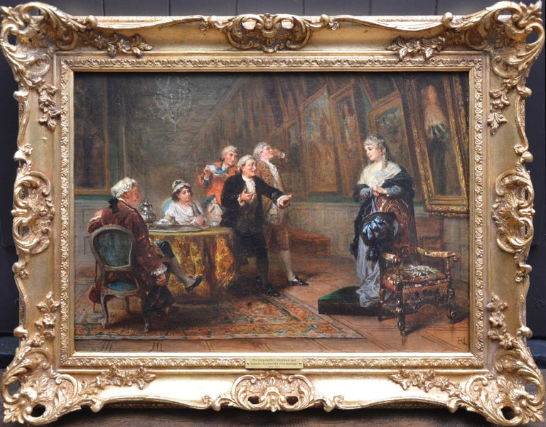 Robert Alexander Hillingford Figurative Painting - The Long Gallery, Hardwick Hall - 19th Century English Stately Home Oil Painting